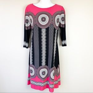 London Times - Pink Black & White Dress : Size 12